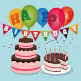 Happy birthday cakes balloons garland confetti Royalty Free Stock Images