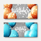 Happy birthday calligraphic inscription with balloons and light effects. Greeting card with realistic balls and bokeh. Festive banner template design for Royalty Free Stock Photography