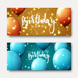 Happy birthday calligraphic inscription with balloons and light effects. Greeting card with realistic balls and bokeh. Festive banner template design for Royalty Free Stock Photos