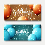 Happy birthday calligraphic inscription with balloons and light effects. Greeting card with realistic balls and bokeh. Festive banner template design for Royalty Free Stock Image