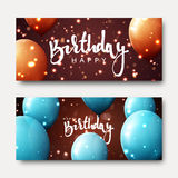 Happy birthday calligraphic inscription with balloons and light effects. Greeting card with realistic balls and bokeh. Festive banner template design for Stock Photo