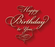 Happy Birthday Calligraphic Lettering Stock Images