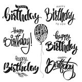 Happy Birthday calligraphy hand lettering set vector Stock Images