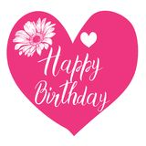 Happy Birthday calligraphy letters on big pink heart with flower. Bright postcard. Festive typography vector design for greeting c. Ards Royalty Free Stock Images