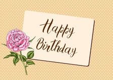 Happy Birthday calligraphy letters with rose flower. Bright postcard. Festive typography  design for greeting cards.  Stock Photos