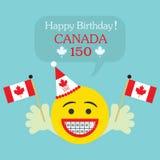 Happy Birthday! Canada 150 emoji icon with braces and Canada flag Stock Photo