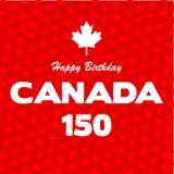 Happy 150 Birthday Canada on maple leaf background Royalty Free Stock Image