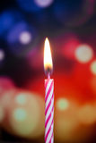 Happy birthday candle. On colorful background Royalty Free Stock Photography