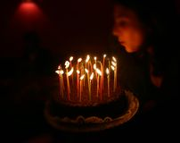 Happy birthday candle blow. Blowing out the candles at party stock image