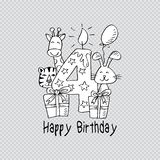 Happy birthday with candle and cute animals. Transparent background stock illustration