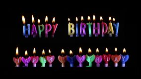 Happy Birthday candle Light on isolated. Black stock video