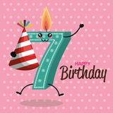 Happy birthday candle number character. Vector illustration design vector illustration