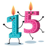 Happy birthday candle number character. Vector illustration design stock illustration