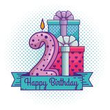 Happy birthday with candle number two decoration. Vector illustration vector illustration