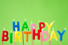 Happy Birthday candle text Royalty Free Stock Photography