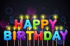 Happy Birthday Candle. Vector illustration of colorful happy birthday candle Royalty Free Stock Image