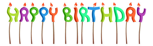 Happy birthday candles. Inscription white background Royalty Free Stock Photography