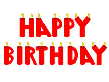 Happy birthday candles. Happy birthday red candles illustration Stock Image