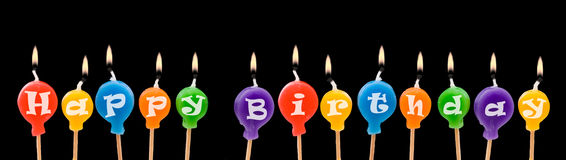 Happy Birthday Candles. Happy Birthday Ballon Candles isolated on black background Stock Photo