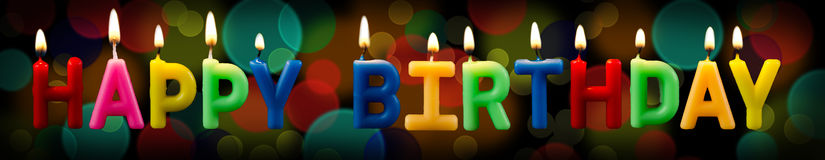 Happy birthday candles with bokeh background Stock Photo