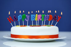 Happy birthday candles on a cake Royalty Free Stock Photos
