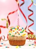Happy birthday candles cupcake Stock Photo