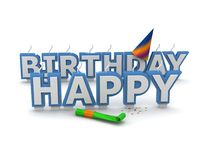 Happy birthday candles. Isolated on white background Royalty Free Stock Images