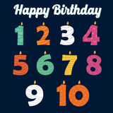 Happy Birthday Candles in Numbers for Your Family Party Stock Photography