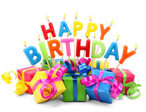 Happy Birthday Candles With Presents Royalty Free Stock Photography