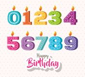 Happy birthday candles set icons. Vector illustration design Royalty Free Stock Photography