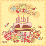 Happy birthday card. With cake, candles and gifts royalty free illustration