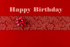 Happy birthday card. With red ribbon and bow on red paper vector illustration