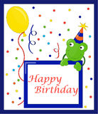 Happy birthday card. A funny cartoon style happy birthday card for children with a frog, a balloon and confetti. Vector Stock Image