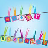 Happy birthday card. With cloth Royalty Free Stock Images