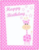 Happy birthday card. With a giraffe and stars Royalty Free Stock Photos