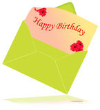 Happy birthday card. With red daisy stock illustration