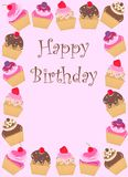 Happy birthday card. With a frame of cupcackes Royalty Free Stock Images