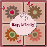 Happy birthday card. Birthday card with text. Illustration with flowers and butterflies Royalty Free Stock Images
