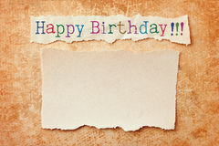 Happy birthday card. Paper with ripped edges on grunge paper background. Happy birthday card Stock Photo