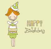 Happy Birthday Card. Illustration of a cute boy whishing happy birthday Vector Illustration