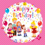Happy Birthday card. Kute kids Happy Birthday card Stock Photo