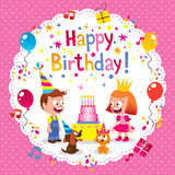 Happy Birthday card. Happy Birthday cute kids card Stock Photos
