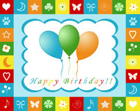 Happy birthday card. Colorful card with balloons for happy birthday Royalty Free Stock Photo