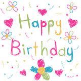 Happy Birthday card. Colorful children's drawing happy birthday card Stock Photography