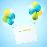 Happy Birthday card. Birthday card with colorful balloons Stock Photos