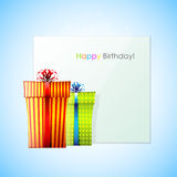 Happy Birthday card. Birthday card with colorful present boxes Stock Photography