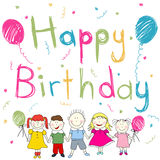 Happy Birthday card. Colorful children's drawing happy birthday card Stock Photos