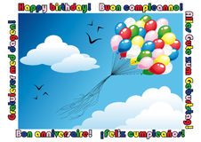 Happy birthday card. With a bunch of balloons flying in the blue sky. Happy birthday! text in english, italian, german, spanish, french, norwegian. Available in Royalty Free Stock Photo