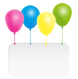 Happy Birthday Card. Color Balloons With Signboard With Copyspace - Isolated on White Background stock illustration