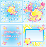 Happy birthday card. With stylish flowers and butterfly Royalty Free Stock Images